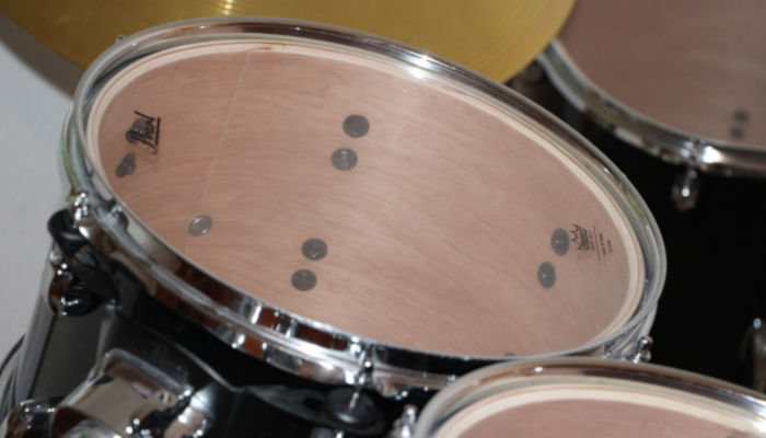 Closeup of a black tom-tom drum