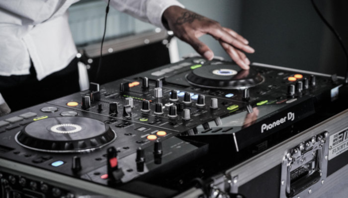 DJ using a MIDI controller