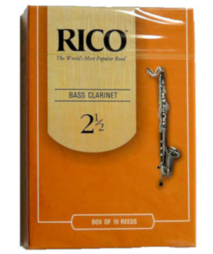 Orange package of Rico brand reeds for bass clarinet