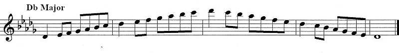 Sheet music showing d-flat major scale for clarinet