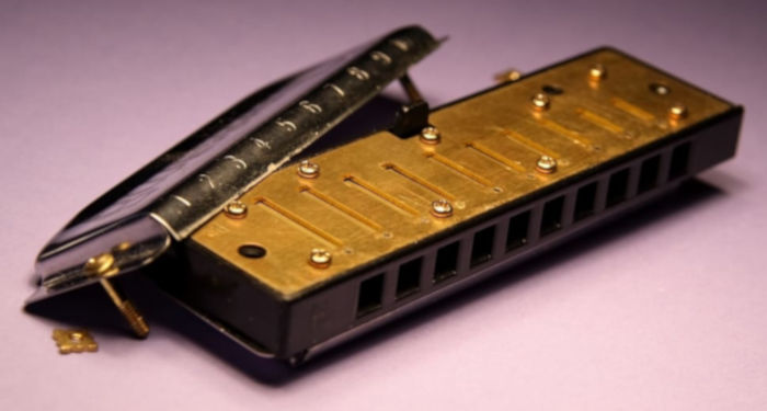 Harmonica on purple background with top removed to expose reeds