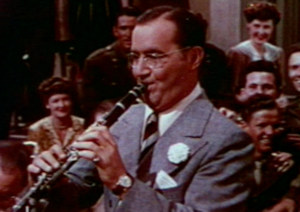 Benny Goodman shown playing clarinet in a scene from The Gang's All Here