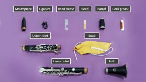 Assorted clarinet parts and accessories labeled on a purple background