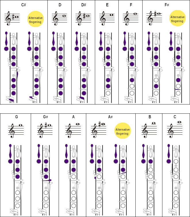 Chart showing various fingerings for different notes on clarinet