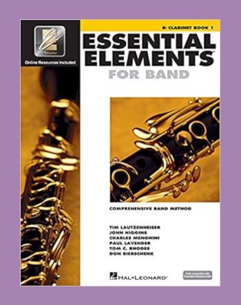Essential Elements for Band Clarinet book on purple background