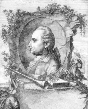 A black and white engraving or drawing of Iwan Müller