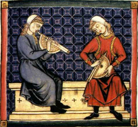 Medieval tapestry showing two people playing zummara