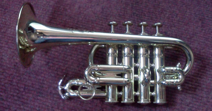 A silver-colored piccolo trumpet resting on a purple towel