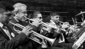 A row of orchestra musicians playing various trumpets