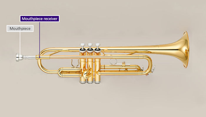 Diagram of a trumpet with parts labeled and mouthpiece receiver highlighted in purple on a grey background