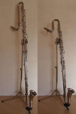 A contrabass and contra-alto clarinet side-by-side