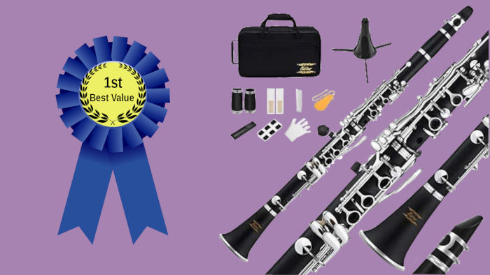 First place blue ribbon with clarinet and accessories on a purple background