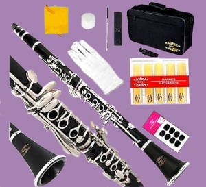 A lower-end clarinet with various accessories on a purple background