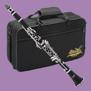 Jean Paul CL-300 clarinet with case on purple background