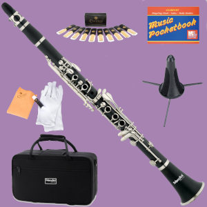 Mendini clarinet by Cecilio with case and accessories on purple background