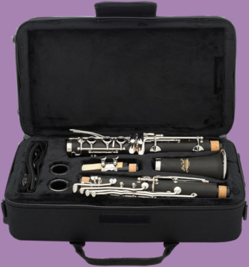 Open clarinet case showing Jean Paul USA CL-300 student clarinet and accessories on purple background