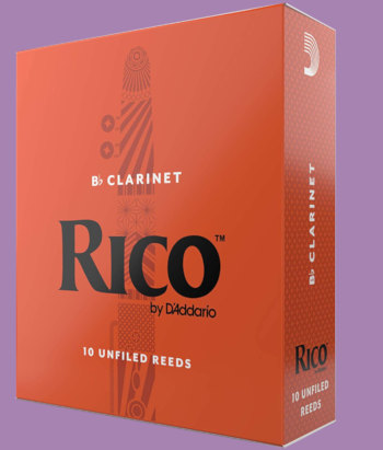 10-pack of Rico 2.5 strength clarinet reeds on purple background