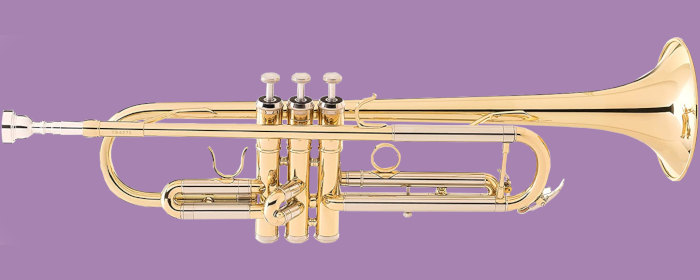 Jean Paul USA TR-330 standard trumpet lengthwise on a purple background